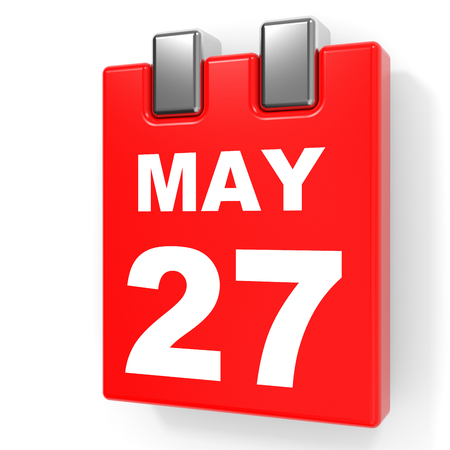 May 27. Calendar on white background. 3D illustration.