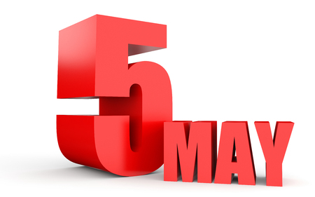 May 5. Text on white background. 3d illustration. Stock Photo