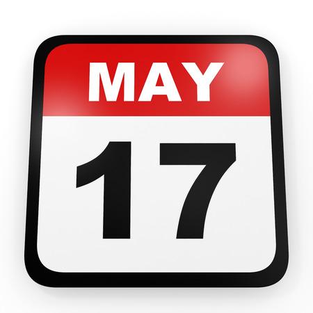 seventeenth: May 17. Calendar on white background. 3D illustration.