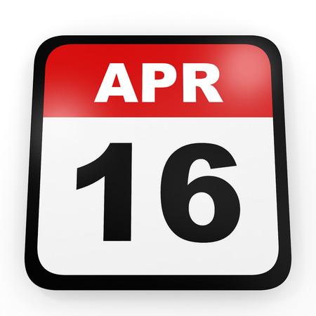 16: April 16. Calendar on white background. 3D illustration.