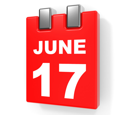 June 17. Calendar on white background. 3D illustration.