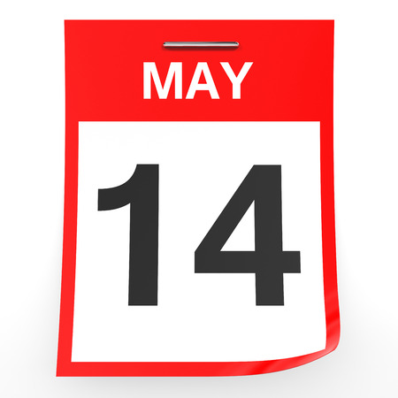 14: May 14. Calendar on white background. 3D illustration.