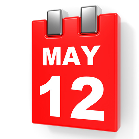 12: May 12. Calendar on white background. 3D illustration.
