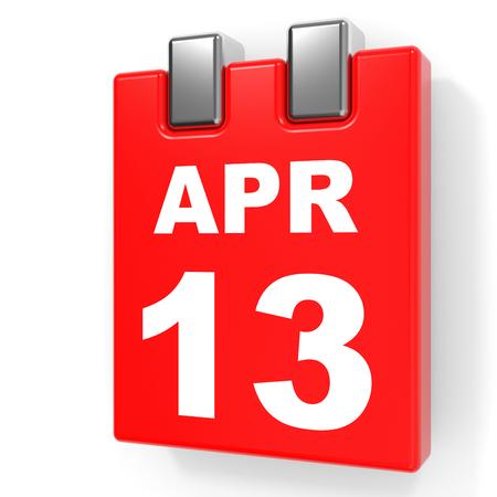 April 13. Calendar on white background. 3D illustration.