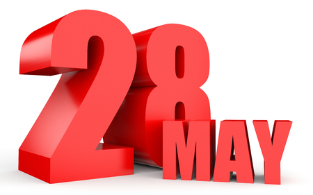 May 28. Text on white background. 3d illustration. Stock Photo