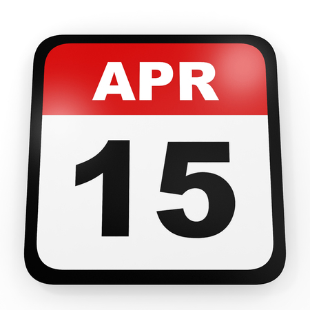 fifteenth: April 15. Calendar on white background. 3D illustration. Stock Photo