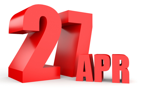 April 27. Text on white background. 3d illustration. Stock Photo