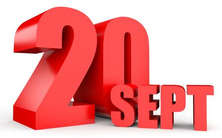 september calendar: September 20. Text on white background. 3d illustration.