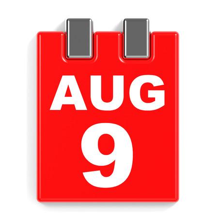 August 9. Calendar on white background. 3D illustration.