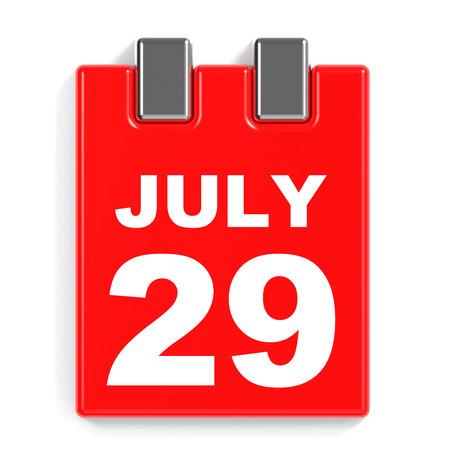 July 29. Calendar on white background. 3D illustration.