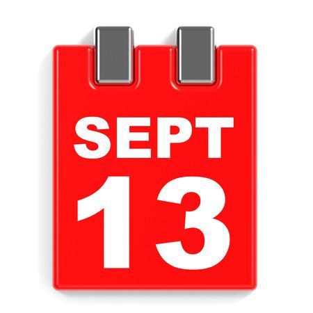 September 13. Calendar on white background. 3D illustration. Stock Photo