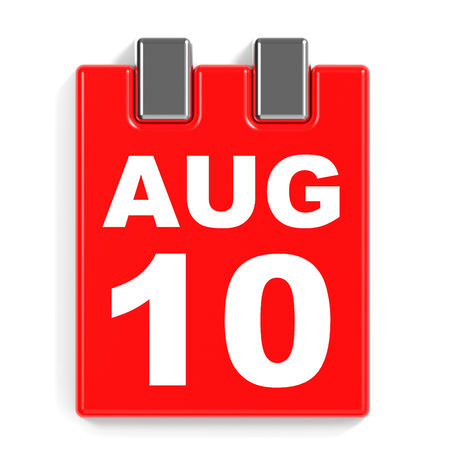 August 10. Calendar on white background. 3D illustration.