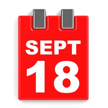September 18. Calendar on white background. 3D illustration. Stock Photo