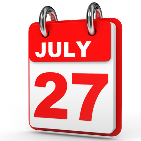 27: July 27. Calendar on white background. 3D illustration.