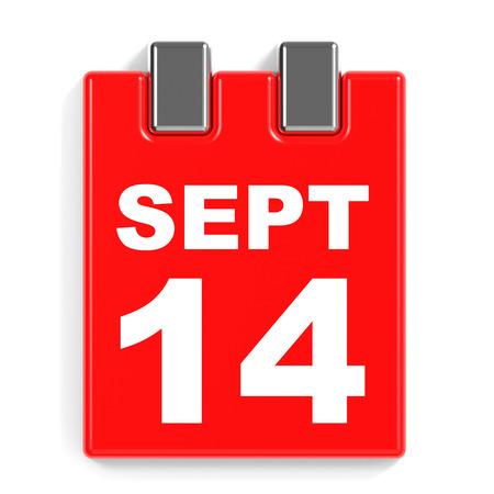 fourteenth: September 14. Calendar on white background. 3D illustration.