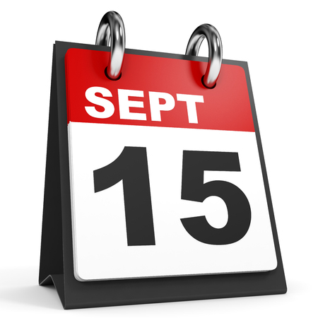 15: September 15. Calendar on white background. 3D illustration. Stock Photo
