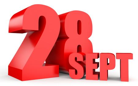 28: September 28. Text on white background. 3d illustration.