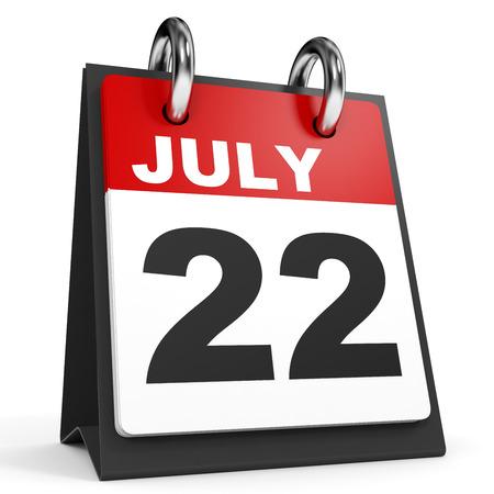 July 22. Calendar on white background. 3D illustration. Stock Photo