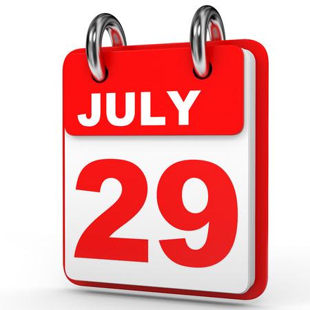 twenty ninth: July 29. Calendar on white background. 3D illustration.