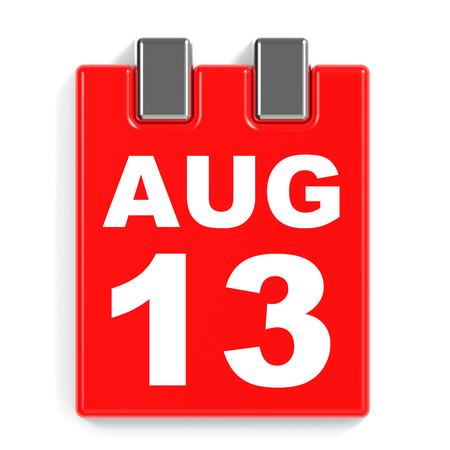 August 13. Calendar on white background. 3D illustration. Stock Photo