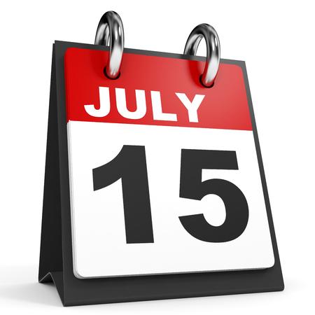 15. Juli Kalender auf weißem Hintergrund . 3D-Darstellung Standard-Bild - 64475257