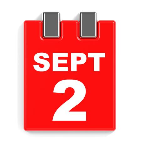 september 2: September 2. Calendar on white background. 3D illustration.