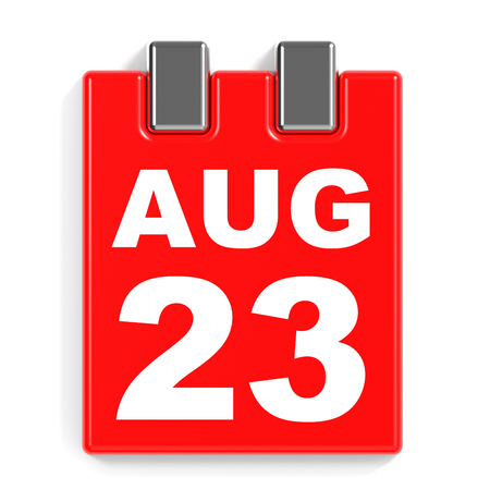 August 23. Calendar on white background. 3D illustration.