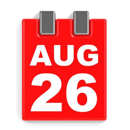 twenty sixth: August 26. Calendar on white background. 3D illustration. Stock Photo