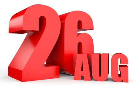 August 26. Text on white background. 3d illustration.