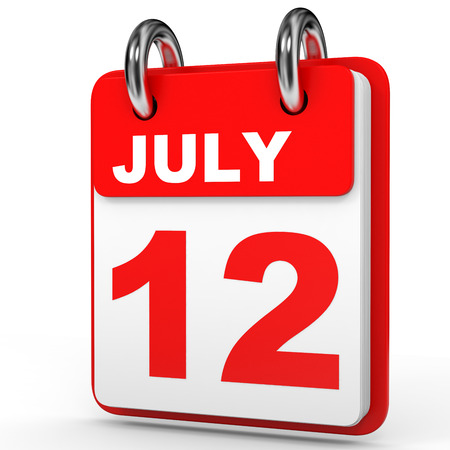 a 12: July 12. Calendar on white background. 3D illustration.