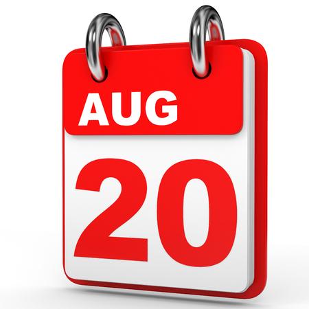 August 20. Calendar on white background. 3D illustration.