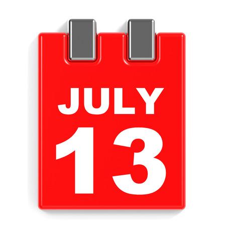July 13. Calendar on white background. 3D illustration.
