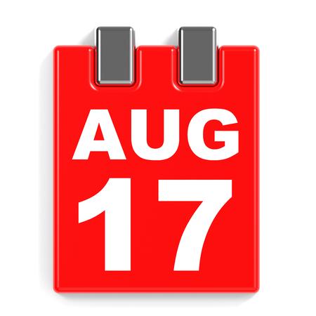 August 17. Calendar on white background. 3D illustration.