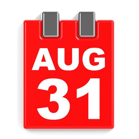 31: August 31. Calendar on white background. 3D illustration.