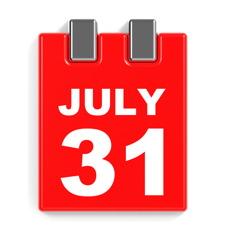 31st: July 31. Calendar on white background. 3D illustration.