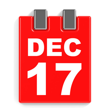 seventeenth: December 17. Calendar on white background. 3D illustration. Stock Photo
