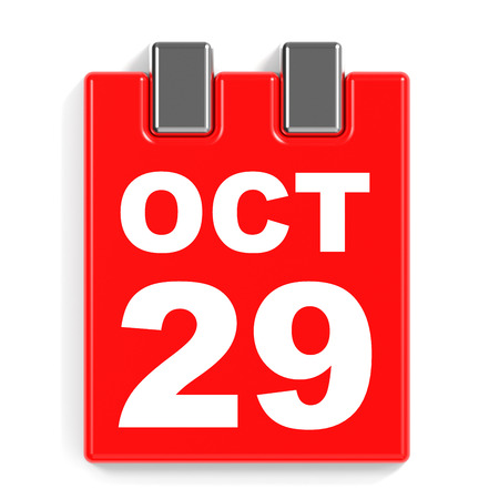 calendario octubre: 29 de octubre de calendario en el fondo blanco. Ilustración 3D.