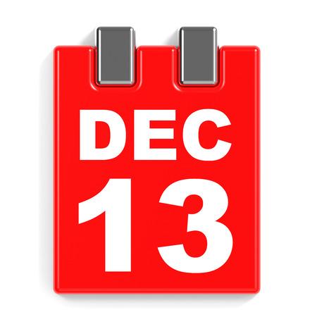 13th: December 13. Calendar on white background. 3D illustration.