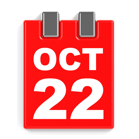 October 22. Calendar on white background. 3D illustration.