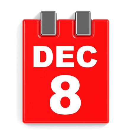 December 8. Calendar on white background. 3D illustration.