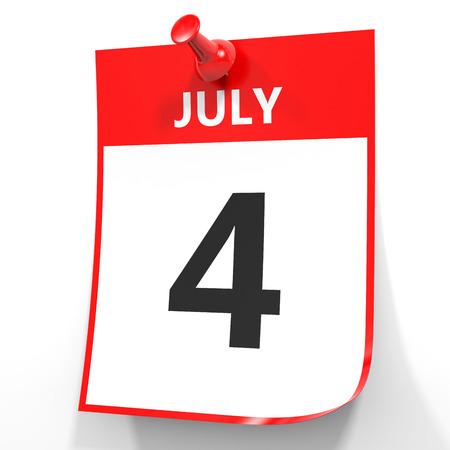 july 4: July 4. Calendar on white background. 3D illustration. Stock Photo