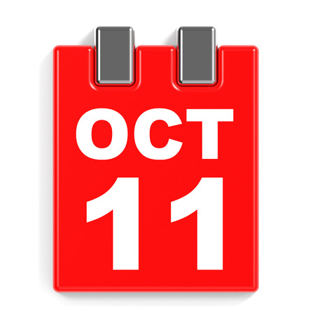 October 11. Calendar on white background. 3D illustration. Stock Photo