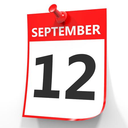 12: September 12. Calendar on white background. 3D illustration.
