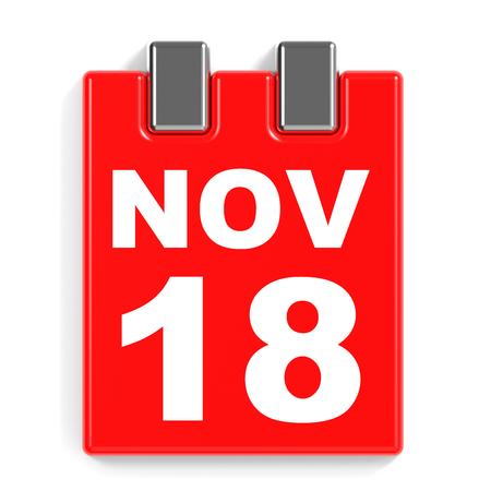 November 18. Calendar on white background. 3D illustration.
