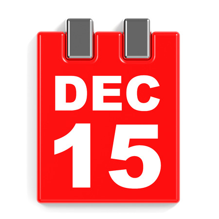 December 15. Calendar on white background. 3D illustration. Stock Photo