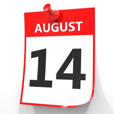 fourteenth: August 14. Calendar on white background. 3D illustration. Stock Photo