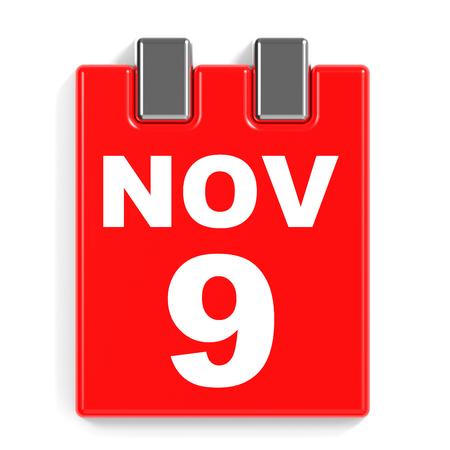 November 9. Calendar on white background. 3D illustration.