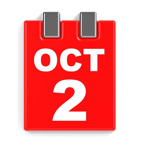 calendario octubre: October 2. Calendar on white background. 3D illustration.