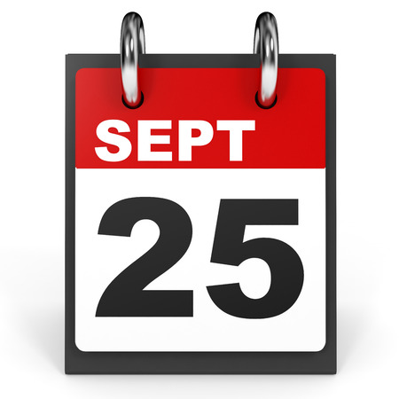 25th: September 25. Calendar on white background. 3D illustration. Stock Photo