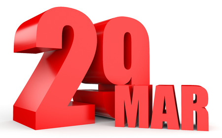 March 29. Text on white background. 3d illustration.